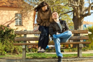 love couple sitting on a bench